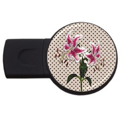 Vintage Flowers Usb Flash Drive Round (2 Gb) by Valentinaart