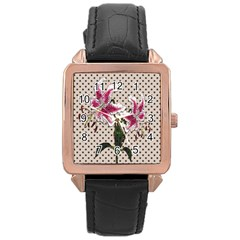 Vintage Flowers Rose Gold Leather Watch  by Valentinaart