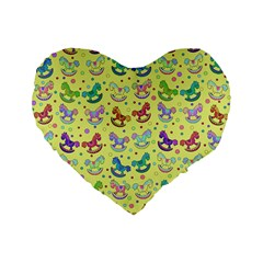 Toys Pattern Standard 16  Premium Flano Heart Shape Cushions by Valentinaart