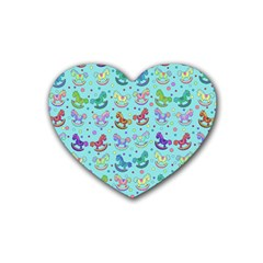 Toys Pattern Rubber Coaster (heart)  by Valentinaart