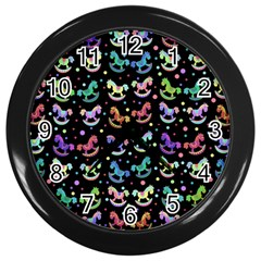Toys pattern Wall Clocks (Black)