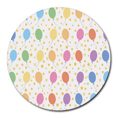 Balloon Star Rainbow Round Mousepads by Mariart