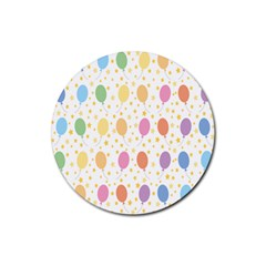 Balloon Star Rainbow Rubber Coaster (round)