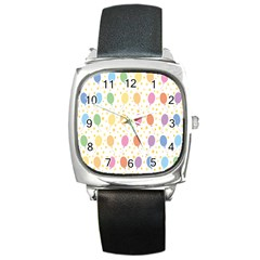 Balloon Star Rainbow Square Metal Watch by Mariart