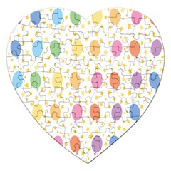 Balloon Star Rainbow Jigsaw Puzzle (heart) by Mariart