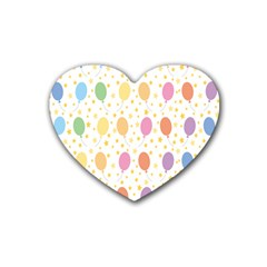Balloon Star Rainbow Heart Coaster (4 Pack)  by Mariart