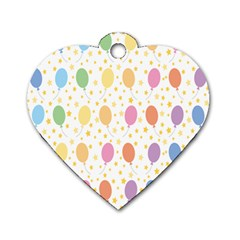 Balloon Star Rainbow Dog Tag Heart (two Sides) by Mariart