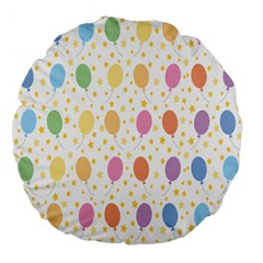 Balloon Star Rainbow Large 18  Premium Flano Round Cushions by Mariart