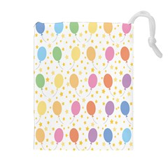 Balloon Star Rainbow Drawstring Pouches (extra Large) by Mariart