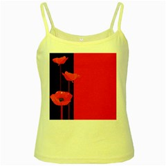 Flower Floral Red Back Sakura Yellow Spaghetti Tank by Mariart