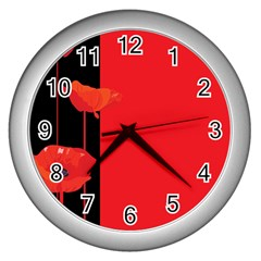 Flower Floral Red Back Sakura Wall Clocks (silver)  by Mariart