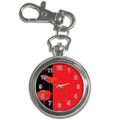 Flower Floral Red Back Sakura Key Chain Watches by Mariart