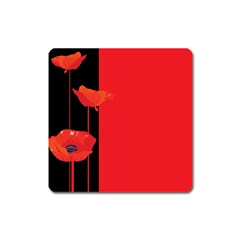 Flower Floral Red Back Sakura Square Magnet by Mariart