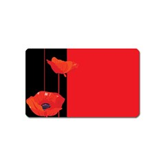 Flower Floral Red Back Sakura Magnet (name Card) by Mariart