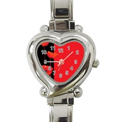 Flower Floral Red Back Sakura Heart Italian Charm Watch by Mariart