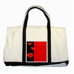 Flower Floral Red Back Sakura Two Tone Tote Bag by Mariart