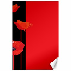 Flower Floral Red Back Sakura Canvas 24  X 36  by Mariart