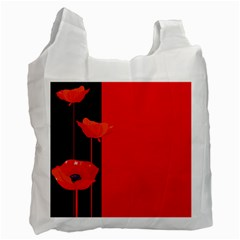 Flower Floral Red Back Sakura Recycle Bag (one Side)