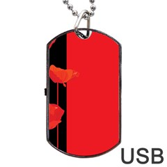 Flower Floral Red Back Sakura Dog Tag Usb Flash (two Sides) by Mariart