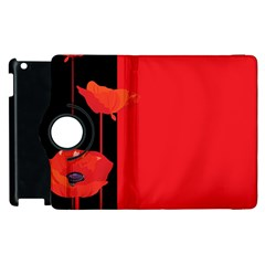 Flower Floral Red Back Sakura Apple Ipad 3/4 Flip 360 Case by Mariart