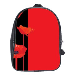 Flower Floral Red Back Sakura School Bags (xl)  by Mariart