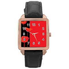Flower Floral Red Back Sakura Rose Gold Leather Watch  by Mariart