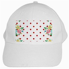Flower Floral Polka Dot Orange White Cap by Mariart