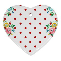Flower Floral Polka Dot Orange Ornament (heart) by Mariart