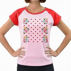 Flower Floral Polka Dot Orange Women s Cap Sleeve T Shirt by Mariart