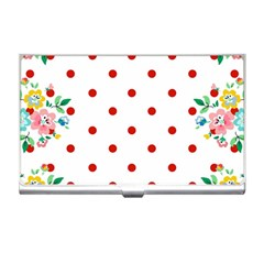 Flower Floral Polka Dot Orange Business Card Holders by Mariart