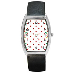 Flower Floral Polka Dot Orange Barrel Style Metal Watch by Mariart