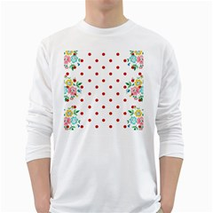 Flower Floral Polka Dot Orange White Long Sleeve T Shirts by Mariart