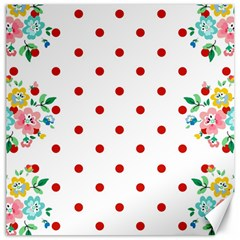Flower Floral Polka Dot Orange Canvas 12  X 12   by Mariart