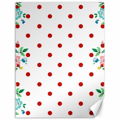 Flower Floral Polka Dot Orange Canvas 12  X 16   by Mariart