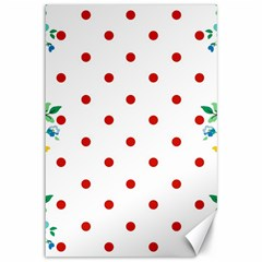 Flower Floral Polka Dot Orange Canvas 12  X 18   by Mariart