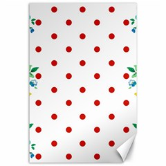 Flower Floral Polka Dot Orange Canvas 24  X 36  by Mariart