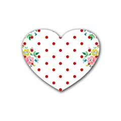 Flower Floral Polka Dot Orange Heart Coaster (4 Pack)  by Mariart
