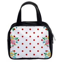 Flower Floral Polka Dot Orange Classic Handbags (2 Sides) by Mariart