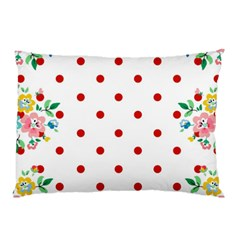 Flower Floral Polka Dot Orange Pillow Case by Mariart