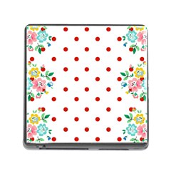 Flower Floral Polka Dot Orange Memory Card Reader (square)