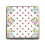 Flower Floral Polka Dot Orange Memory Card Reader (Square) Front