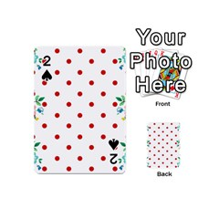 Flower Floral Polka Dot Orange Playing Cards 54 (mini)  by Mariart