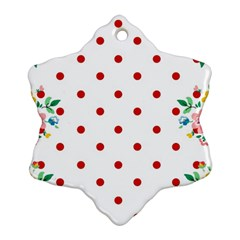 Flower Floral Polka Dot Orange Ornament (snowflake) by Mariart