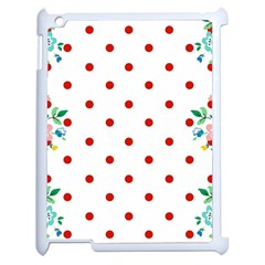 Flower Floral Polka Dot Orange Apple Ipad 2 Case (white) by Mariart