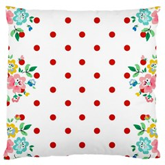 Flower Floral Polka Dot Orange Large Cushion Case (two Sides) by Mariart