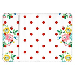 Flower Floral Polka Dot Orange Samsung Galaxy Tab 8 9  P7300 Flip Case by Mariart