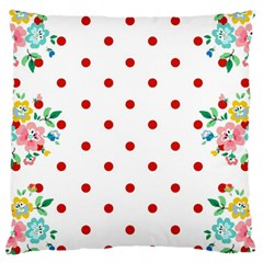 Flower Floral Polka Dot Orange Large Flano Cushion Case (two Sides) by Mariart