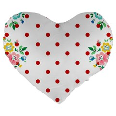 Flower Floral Polka Dot Orange Large 19  Premium Flano Heart Shape Cushions by Mariart