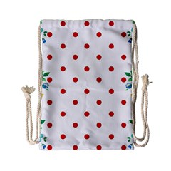 Flower Floral Polka Dot Orange Drawstring Bag (small) by Mariart