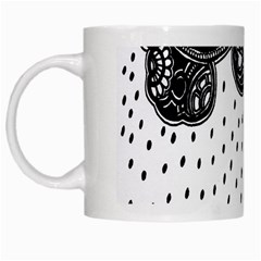 Batik Rain Black Flower Spot White Mugs by Mariart